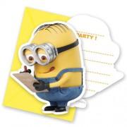 Minions 6 Davetiye+6 Zarf Doğum Günü Parti Davetiyesi, Minyonlar