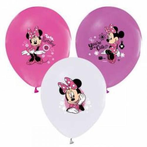 Minnie Mouse 12li Karışık Balon Doğum Günü Parti, Helyumla Uçan
