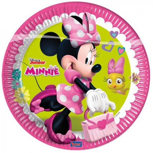 8 Adet Minnie Mouse Doğum Günü Plastik Parti Tabağı
