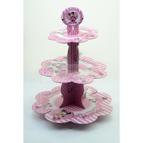 Minnie Mouse Cupcake Stand 3 Katlı Doğum Günü Kek Standı
