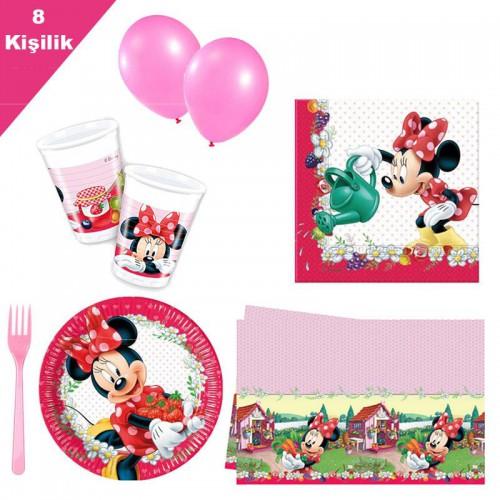 Minnie Mouse Fare mini 8 Kişilik 6 Parça Doğum Günü Seti malzemeleri