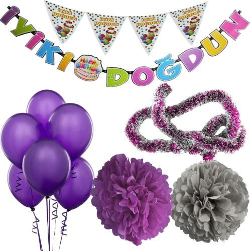 Mor Kız Çocuk (Bebek) Doğum Günü Parti Süsleri Malzeme Seti