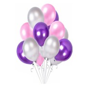 Mor Pembe Gümüş Metalik Karışık Balon 30 Adet