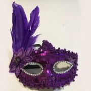 Mor Pullu-Tüylü Kadın Parti Balo Göz Maskesi Dantelli, Venedik