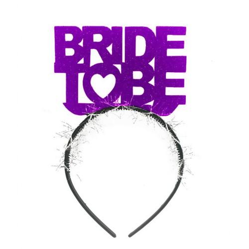 Mor Simli Bride To Be Yazılı Taç, Bekarlığa Veda Partisi için Taç