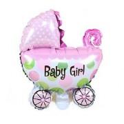 Pembe Bebek Arabası Şekilli Baby Girl Baskılı Folyo Uçan Balon