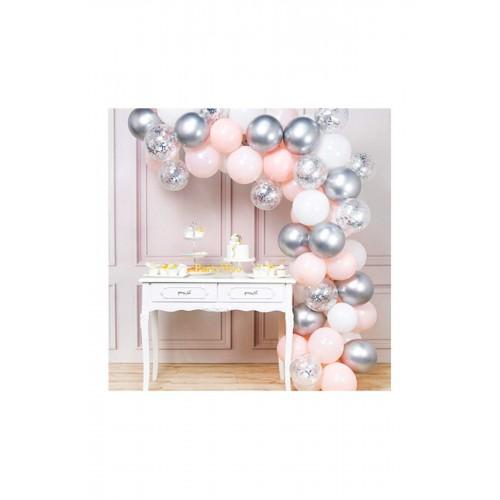 Pembe Beyaz Gümüş Krom Konfetili Balon Zincir Seti 5 Metre