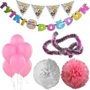 Pembe Kız Çocuk (Bebek) Doğum Günü Parti Süsleri Malzeme Seti