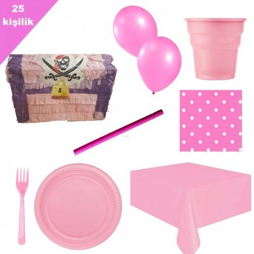 Pembe kız korsan Pinyata 25 Kişilik Parti seti balon doğum günü