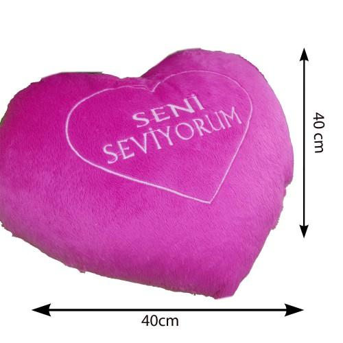 Pembe Seni Seviyorum Yazılı Kalpli Yastık, Sevgiliye Hediye