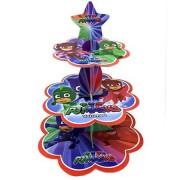 Pija Maskeliler Cupcake Kek Standı, Pj Masks 3 Katlı Karton Stand