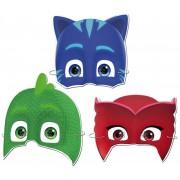 Pijamaskeliler maskesi:2 Kedi Çocuk + 2 Baykuş Kız + 2 Kertenkele