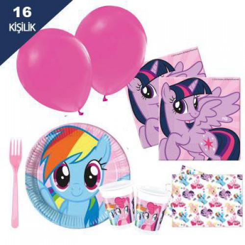 Pony , poni 16 Kişilik Doğum Günü Parti Seti malzemeleri paketi