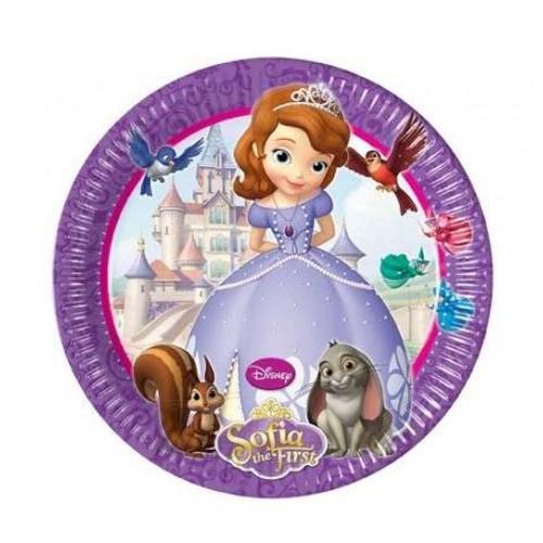 Prenses Sofia 8 adet Tabak 23cm Doğum Günü Parti Tabağı Ucuz