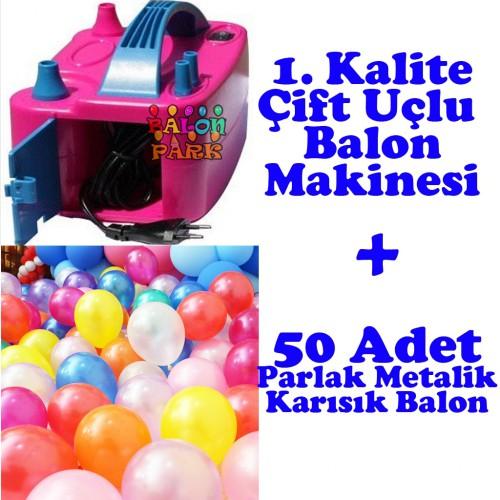 Balon Şişirme Pompası Makinesi (Makinası) + 50 Karışık Balon