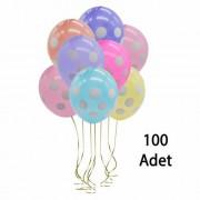 Puantiyeli Balon Renkli 100 Adet