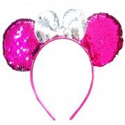 Pullu Pembe Fiyonklu Minnie Mouse Taç, Büyük Kulak Parti Tacı