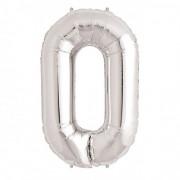 Rakam Folyo Balon 0 Rakamı Büyük Boy Balon Gümüş/Gri 100CM
