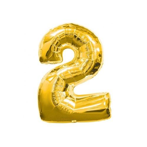 1 Adet Rakam Folyo Balon 2 Rakamı Büyük Boy Balon Altın Sarısı /Dore 100CM