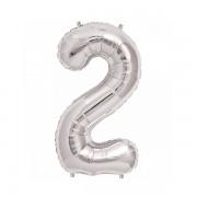 Rakam Folyo Balon 2 Rakamı Büyük Boy Balon Gümüş/Gri 100CM