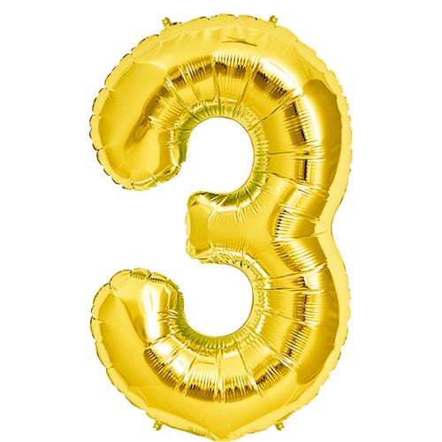 Rakam Folyo Balon 3 Rakamı Büyük Boy Balon Altın Sarısı /Dore 100CM