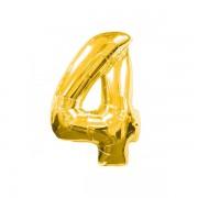 Rakam Folyo Balon 4 Rakamı Büyük Boy Balon Altın Sarısı /Dore 100CM