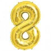 Rakam Folyo Balon 8 Rakamı Büyük Boy Balon Altın Sarısı /Dore 100CM