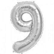 Rakam Folyo Balon 9 Rakamı Büyük Boy Balon Gümüş/Gri 100CM