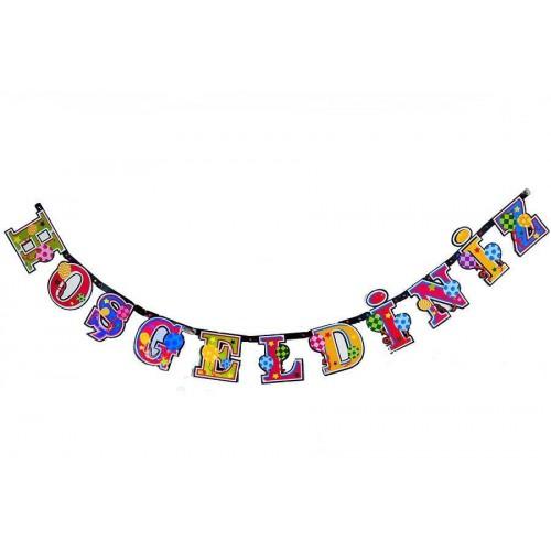 Rengarenk Hoşgeldiniz Yazısı, Doğum Günü Partisi Duvar Asma Süsü