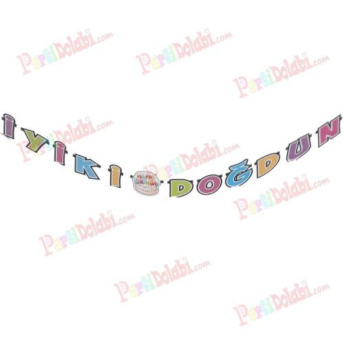Rengarenk Uzun Doğum Günü Parti Yazısı İyi ki doğdun Süs Pd3111
