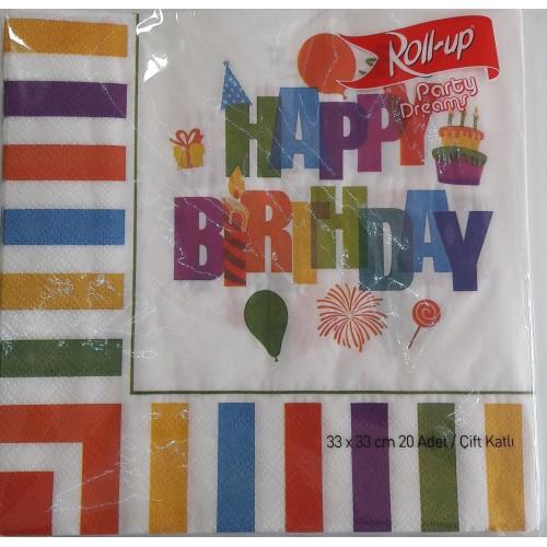 Renkli Happy Birthday 20li Peçete Doğum Günü Parti Peçetesi