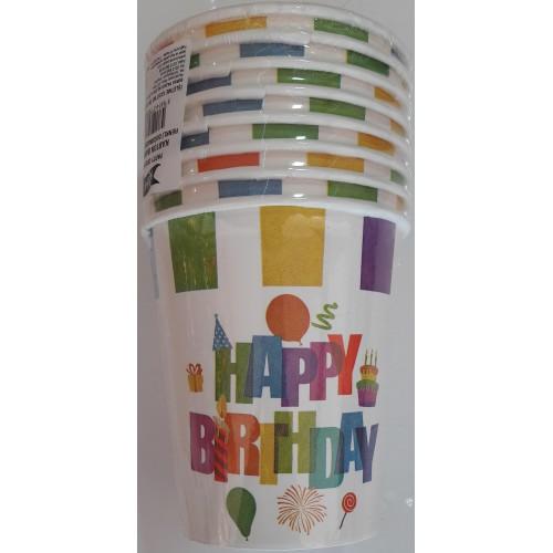 Renkli Happy Birthday 8li Bardak Doğum Günü Parti Bardağı