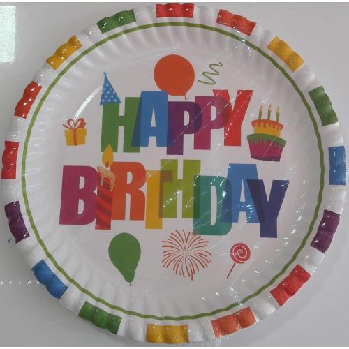 Renkli Happy Birthday 8li Tabak Doğum Günü Parti Tabağı