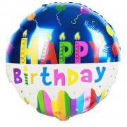 Renkli Happy Birthday Yazılı Folyo Balon 45cm Helyumla Uçan
