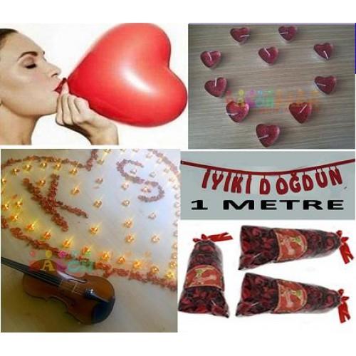 Romantik Yetişkin Doğum Günü Paketi:Yazı+ Balon+ Mum+ Gül Yaprağı