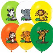 12 li Safari Temalı Renkli Balon, Sevimli Hayvanlar Doğum Günü