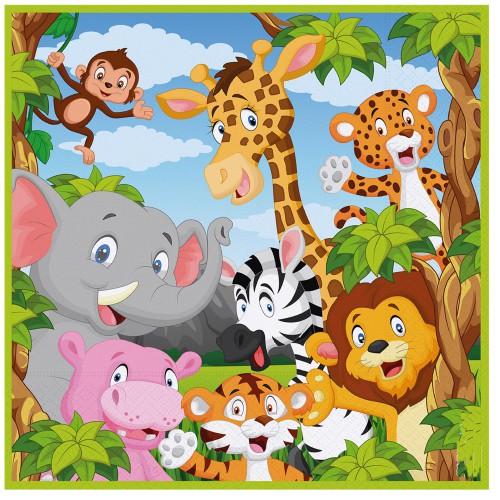 16 Adet Safari Hayvanları Temali Doğum Günü Parti Peçetesi