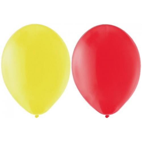 Sarı Kırmızı Renklerinde Baskısız Balon 25 25 Toplam 50 Adet