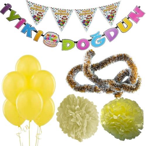 Sarı Kız Çocuk (Bebek) Doğum Günü Parti Süsleri Malzeme Seti