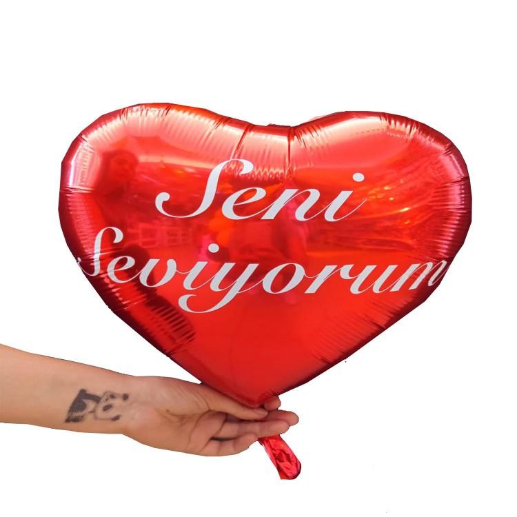 Seni Seviyorum Baskili Kalpli Balon Kalp Seklinde Folyo Balon