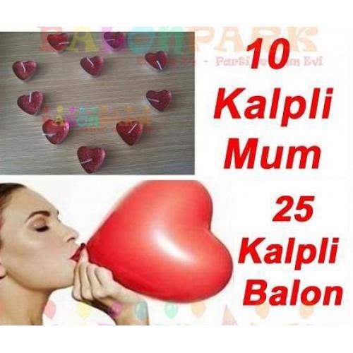 Sevgililer Günü Aşk Paketi, Kalp Balon + 10 Kalpli Mum