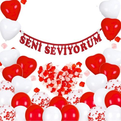 Sevgililer Günü Balonları Dekorasyon Set Sürpriz Oda Süsleme