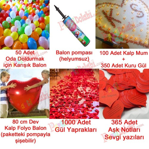 Sevgililer Günü Oda Ev Süsleme Paketi Gül, Mum, Balon, Pompa