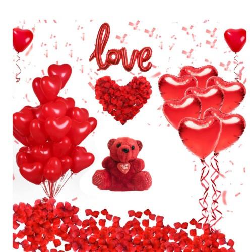 Sevgililer Günü Süsleme Paketi Kırmızı Peluş Ayı, Kalp Balon Seti