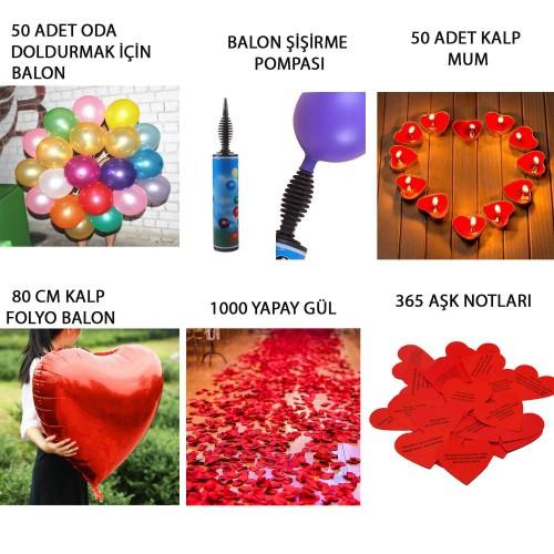 Sevgiliye Doğum Günü Oda Ev Süsleme Paketi Gül, Mum, Balon, Pompa