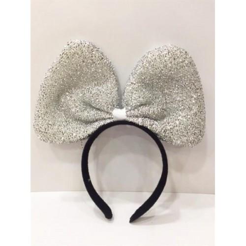 Simli Gümüş Gri Fiyonklu Minnie Mouse Taç, Doğum Günü Parti Tacı