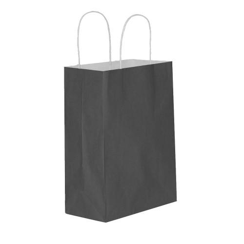 25 Adet Siyah Baskısız Hediyelik Kraft Kağıt İp Saplı Çanta