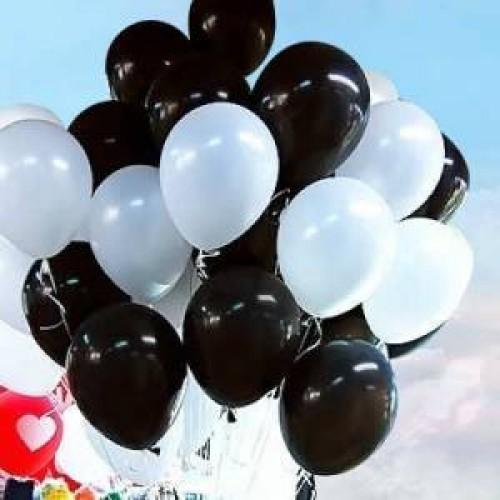Siyah Beyaz Renklerinde Balon 25 25 Toplam 50 Adet