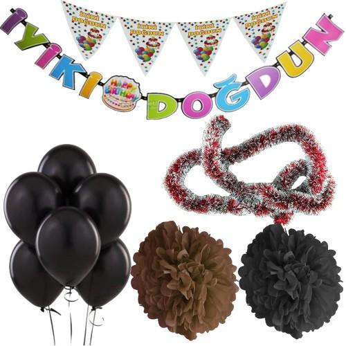 Siyah Kız Çocuk (Bebek) Doğum Günü Parti Süsleri Malzeme Seti