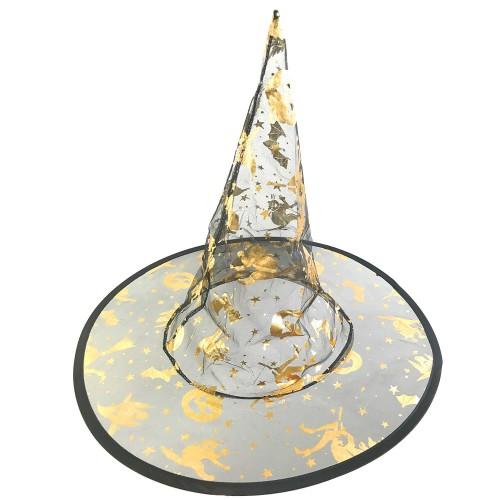 Siyah Gold Cadı Şapkası, Cadılar Bayramı Halloween Kostüm Partisi